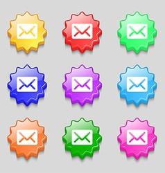 Mail envelope letter icon sign symbol on nine wavy vector image