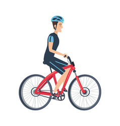 Male ride bike isolated white vector