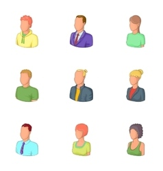 Man and woman avatars icons set cartoon style vector