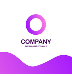 o company logo design with purple theme vector image