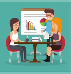 Office teamwork board chart graphc documents vector