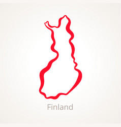 Outline map of finland marked with red line vector
