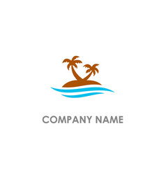 Palm tree beach logo vector