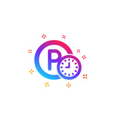 Parking time icon car park clock sign vector