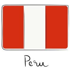 Peru flag doodle vector