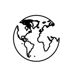 Planet earth with continets icon vector