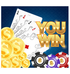 Playing cards chips and gold coins vector