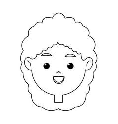 Portrait pretty little girl happy outline vector