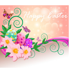 Poster greeting card for easter with eggs vector