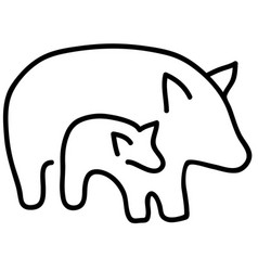 quality black and white silhouettes of pigs vector image