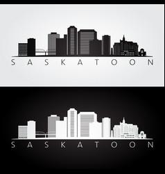 saskatoon skyline and landmarks silhouette vector image