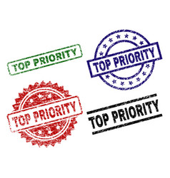 Scratched textured top priority seal stamps vector