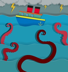 Sea monster attacking fighing boat vector image