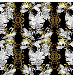 seamless golden pattern oriental ornament vector image