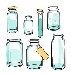 set glass flasks magic potions set of vector image