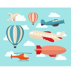 Set of colorful flat air transports vector