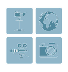 set of journalism devices icons vector image