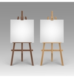 Set of wooden brown sienna easels with canvases vector