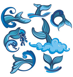 Set whale tails vector