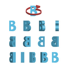 sheet of sprites rotation of cartoon 3d letter b vector image