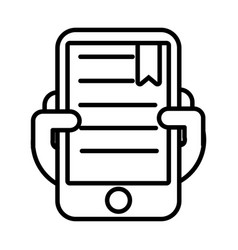 smartphone with text book line style icon vector image