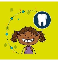 Smiling black girl dental care white tooth vector image