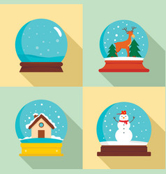 snow globe ball christmas icons set flat style vector image