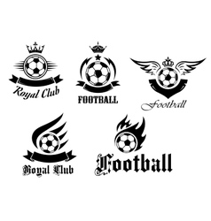 Soccer and football emblems set vector