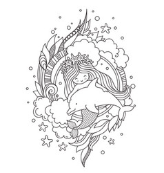 Stylized round composition with mermaid hugging vector