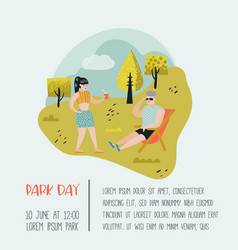 summer landscape with active people relaxing vector image