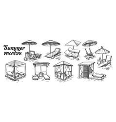 Summer vacation beach furniture set retro vector
