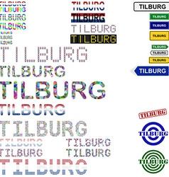 Tilburg text design set vector image