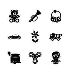 Toys for kids glyph icons vector