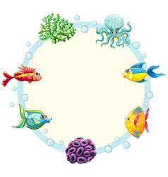 Underwater creature border template vector