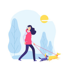 walking dog woman on nature pet owner two cute vector image