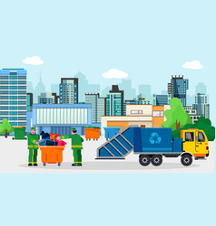Waste disposal removal recycling concept vector