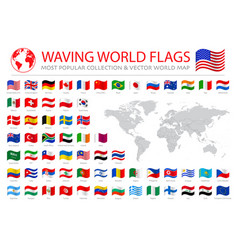 Wavy worldwide national flags set vector