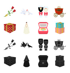 Wedding and attributes blackcartoon icons in set vector