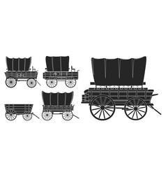 Wild west wagon isolated black icon vector