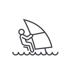 windsurfing linear icon sign symbol on vector image