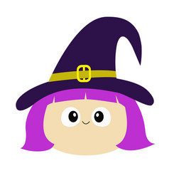 Witch girl face wearing curl hat happy halloween vector