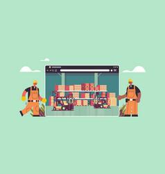workers in uniform near digital warehouse vector image