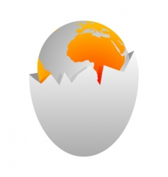 world in egg shell vector image