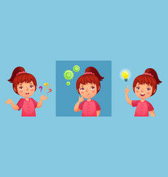 Worried little girl child ask question confused vector