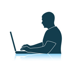Writer at work icon vector