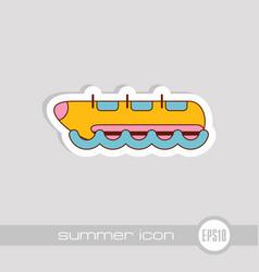 yellow banana boat ride icon summer vacation vector image