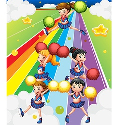 A cheering squad at the colorful street vector