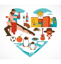 Argentina love - heart with a set of icons vector image