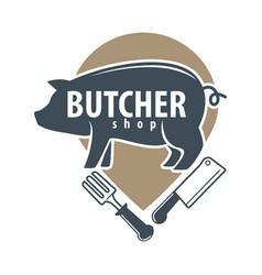 butcher shop logo emblem with pig on white vector image vector image