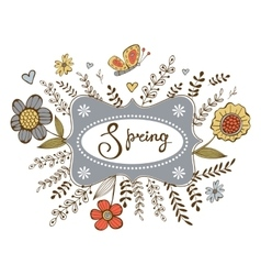 Elegant spring card with a word Spring in a frame vector image vector image